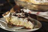 Homemade Black Bottom Cream Pie — Stock Photo