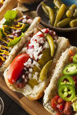 Gourmet Grilled All Beef Hots Dogs — Stock Photo