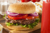 Hearty Grilled Hamburger with Lettuce and Tomato — 图库照片