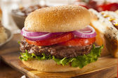 Hearty Grilled Hamburger with Lettuce and Tomato — Photo