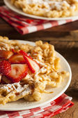 Homemade Funnel Cake with Powdered Sugar — Stock Photo