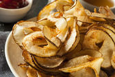 Homemade Spiral Cut Potato Chips — Stock Photo