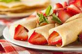 Fresh Strawberry French Crepes — Stock Photo