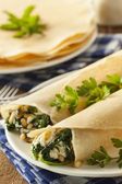 Delicious Homemade Spinach and Feta Savory French Crepes — Stock Photo