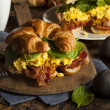 Ham and Cheese Egg Breakfast Sandwich — Stock Photo #51337545