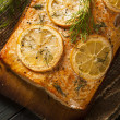 Homemade Grilled Salmon on a Cedar Plank — Stock Photo #51527035