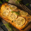 Homemade Grilled Salmon on a Cedar Plank — Stock Photo #51527091