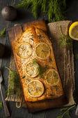 Homemade Grilled Salmon on a Cedar Plank — Stock Photo