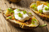 Homemade Potato Skins with Bacon — Stock Photo