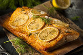 Homemade Grilled Salmon on a Cedar Plank — Stock Photo