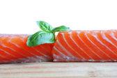 Salmon with basil — Stock Photo