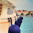White yacht in the port — Stock Photo