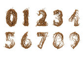 All numbers constructed from little branches — Stock Photo