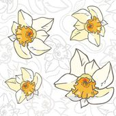 Seamless vector eps 8 flowers pattern. Vintage hand-drawn illustration with white and yellow daffodils — Stock Vector