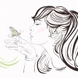Beautiful girl with butterfly, vector illustration, eps 8. — Stock Vector