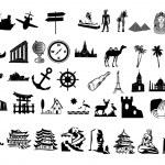 Travel silhouettes — Stock Photo