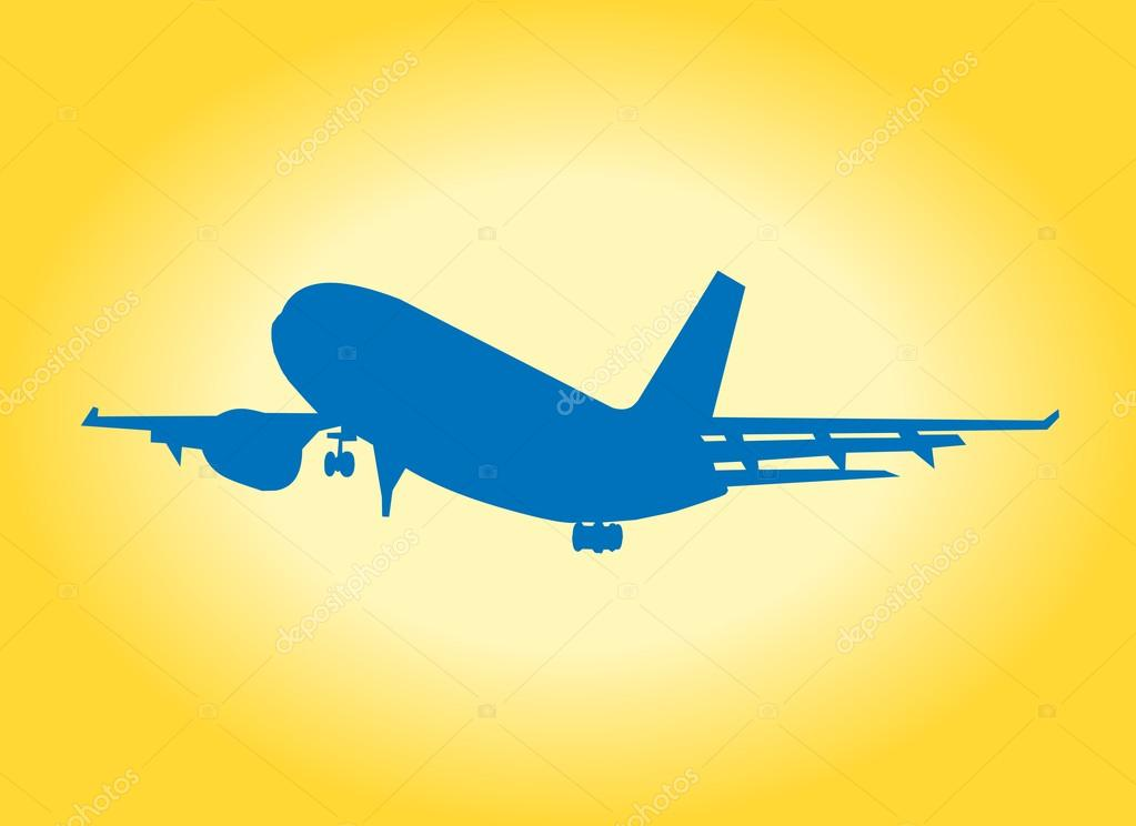 Airplane silhouette whit yellow background and sun — Stock Photo #12040728