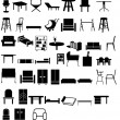 Furniture silhouette set — Stockfoto