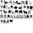 Chairs black Illustration - Stock Photo