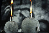 Oil lamps with lit wick — 图库照片