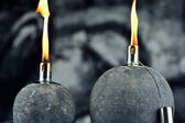 Oil lamps with lit wick — Stock Photo