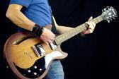 Rock posturing abd guitars — Stock Photo