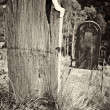Old wooden grave headstone — Stock Photo