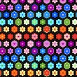 Stock Vector: Colorful crochet flowers seamless pattern, vector