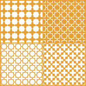 Moroccan lattice seamless pattern set, vector — Stockvektor