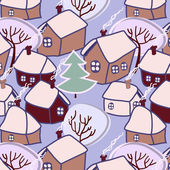Christmas village seamless pattern, vector — Stock Vector