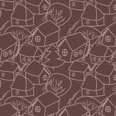 Christmas village in brown seamless pattern, vector — ストックベクタ