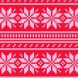 Scandinavian sweater seamless pattern in red, vector — Stock Vector
