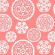 Christmas paper snowflakes seamless pattern in pink, vector — Stock Vector