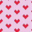 Knitted hearts seamless pattern, vector — Stock Vector