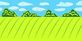Idyllic panoramic landscape seamless pattern, vector — Stock Vector