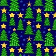 Royalty-Free Stock Imagen vectorial: Christmas trees festive seamless pattern, vector