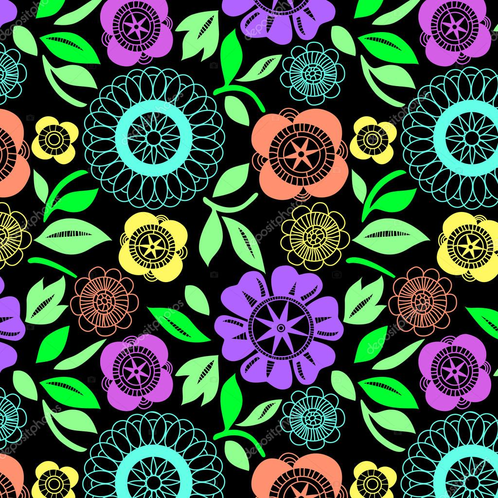 flowers crochet lace seamless pattern, vector - Stock Vector ...