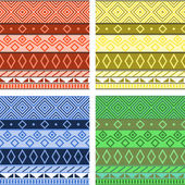 Aztec native american seamless pattern, four colors set, vector — Stockvektor