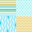 Stock Vector: Simple seamless pattern in blue and yellow set, vector