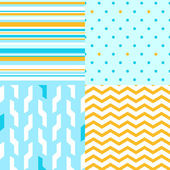 Simple seamless pattern in blue and yellow set, vector — Stock Vector