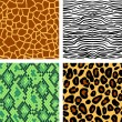 Animal print seamless patterns set, vector — Stock Vector