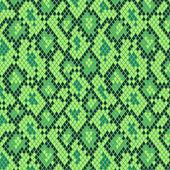 Snake skin in green seamless pattern, vector — Stock Vector
