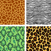 Animal print seamless patterns set, vector — Stock Vector