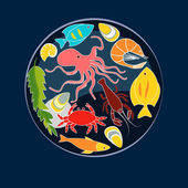 Sea animals seafood circle composition, vector background — Stock Vector