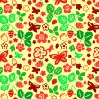 Stock Vector: Strawberry leaves and butterflies seamless pattern, vector