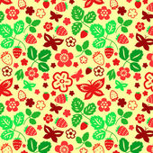 Strawberry leaves and butterflies seamless pattern, vector — Stock Vector