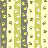 Cat or dog paw striped seamless pattern, vector — Stock Vector