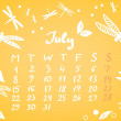 July 2013 calendar sheet, vector — Stock Vector