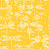 Dragonflies on yellow seamless pattern, vector — Stock Vector