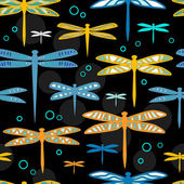 Colorful dragonflies on black seamless pattern, vector — Stock Vector
